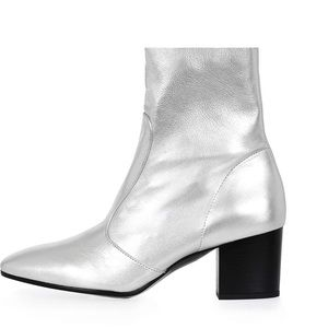 NWT Topshop silver leather ankle boots
